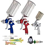 TCP Global Brand HVLP Spray Gun Set - 3 Sprayguns with Cups, Air Regulator & Maintenance Kit for All Auto Paint, Primer…