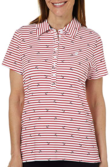 aa4992d59c Gloria Vanderbilt Petite Annie Anchor Striped Polo Shirt at Amazon Women's  Clothing store: