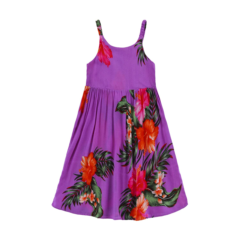 Girl Elastic Ruffle Hawaiian Luau Dress in Purple Floral Aloha Fashion 027706