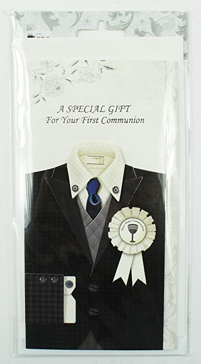 Tarjeta de felicitación de primera comunión con sobres para dinero para niños