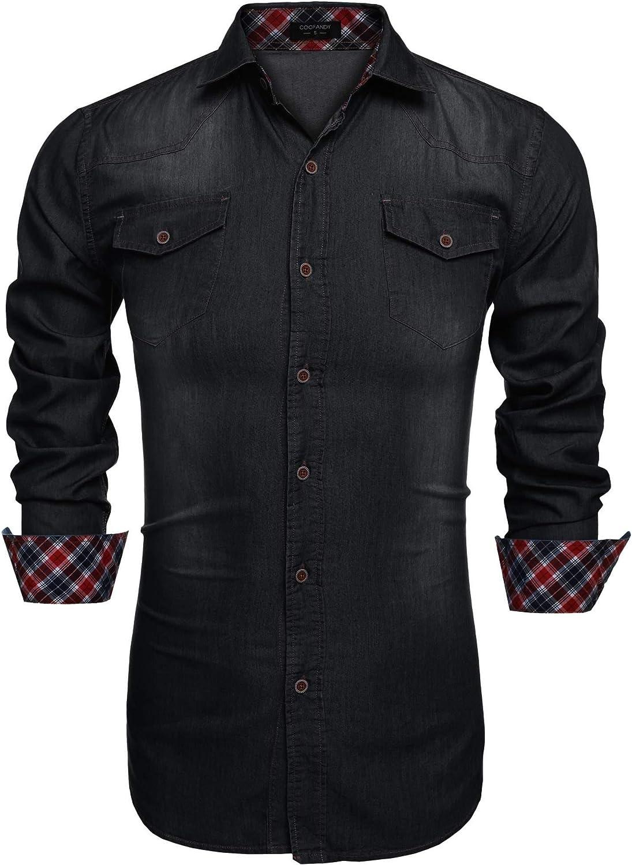 Coofandy Camisa Vaquera de Hombre con Bolsillos de Estilo Demin Regular