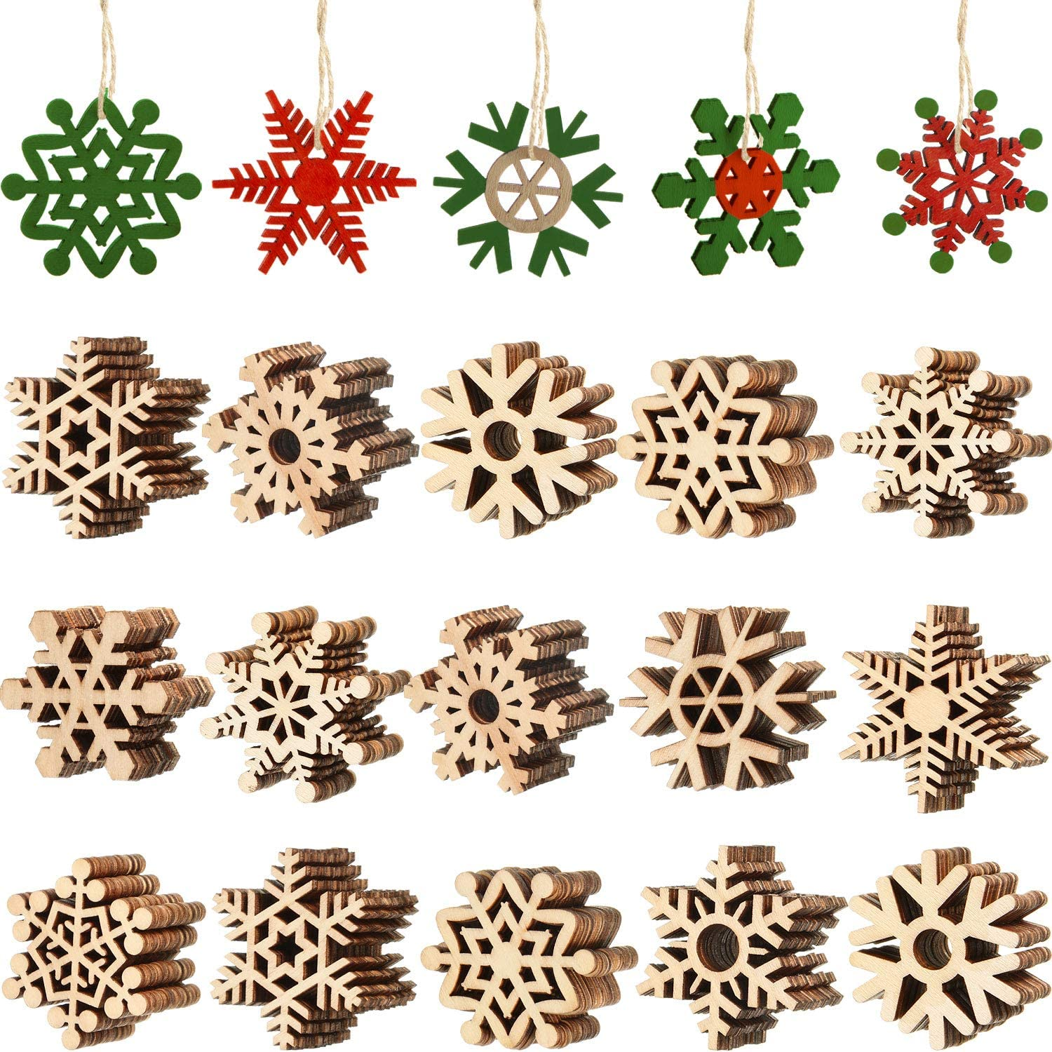 Blulu 100 Pieces Christmas Wooden Snowflake Unfinished Wooden Snowflake Cutouts Hollowed Snowflakes Embellishments Christmas Tree Hanging Ornaments with Cord for Christmas Decoration Craft (2 Inches)