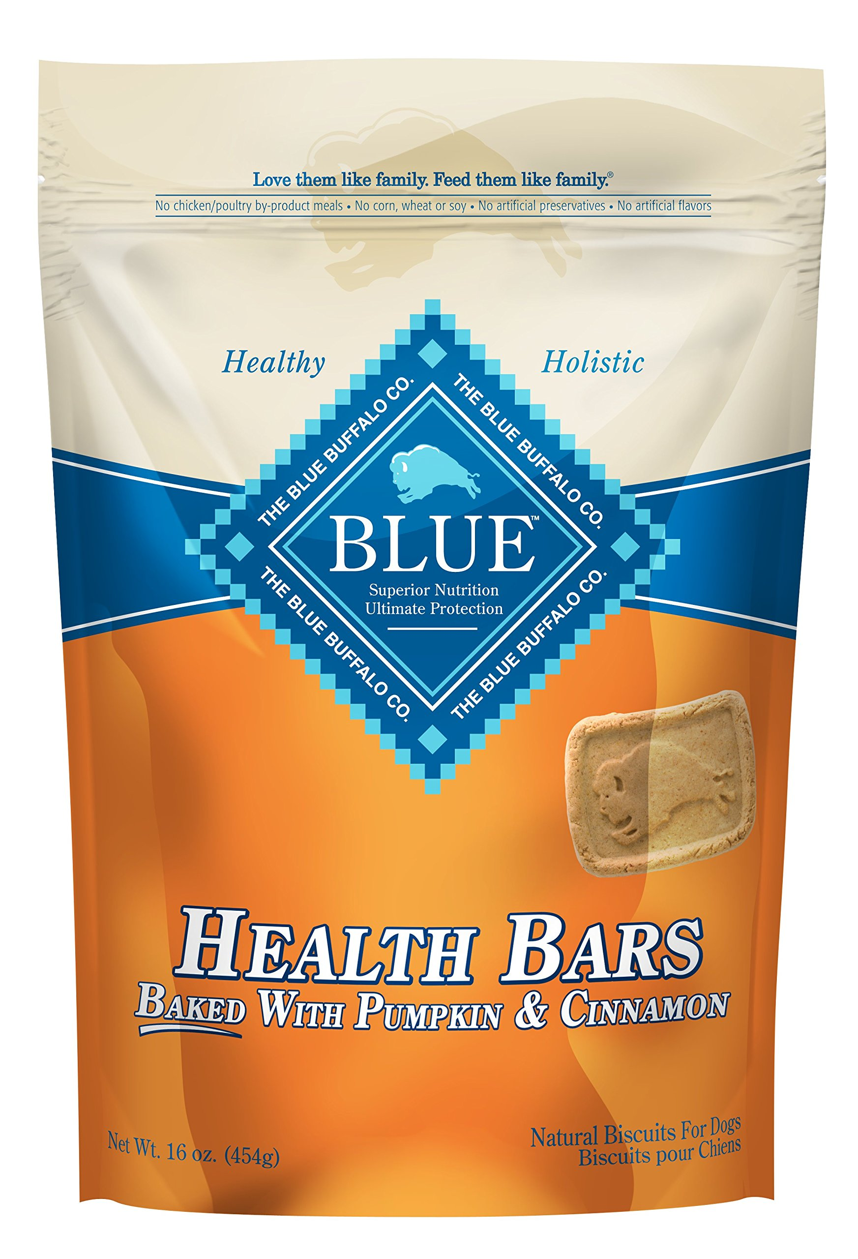 Blue Pumpkin and Cinnamon Health Bars for Dogs, 16 oz (12 Pack)