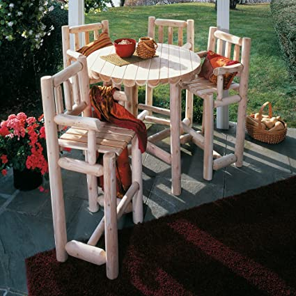 RUSTIC NATURAL CEDAR Furniture 5 Pc. Dining Bistro Set - Amazon.com : RUSTIC NATURAL CEDAR Furniture 5 Pc. Dining Bistro Set