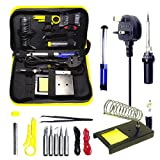 Magneto's Superb 14 Pieces Set Soldering Iron Kit 60w - 220v -Adjustable Temperature -Welding Soldering Iron Electric Soldering Iron Gun With 5 Various Tips, Solder Wire, Tweezers, Desoldering Pump, Wire Stripper Cutter, 2PCS Electric Wire, Iron Holder. Bonus E-BOOK Included.