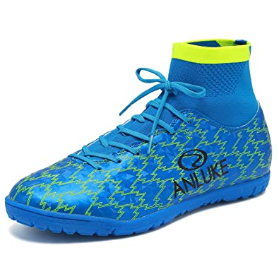 ANLUKE Mens Hightop Training Soccer Shoes TF Football Boots Blue 39
