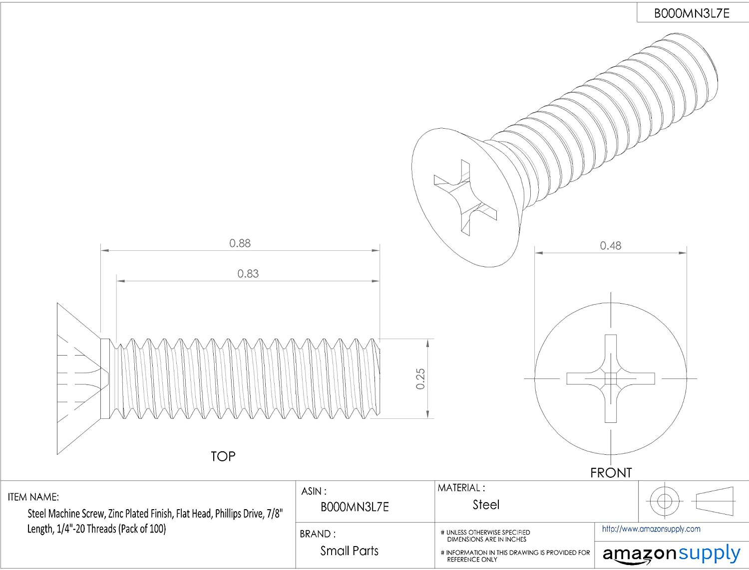 Pack of 100 Phillips Drive Steel Machine Screw 1//4-20 Threads 7//8 Length Zinc Plated Finish Flat Head