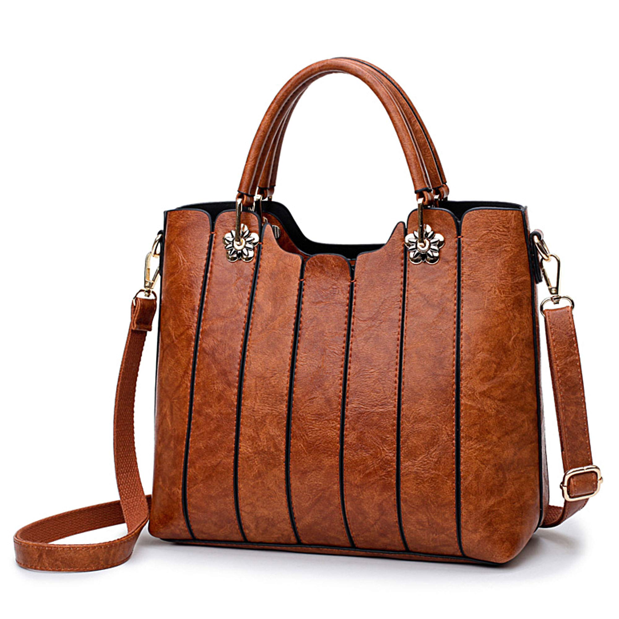 Ladies Leather Bag with Top Handles - Women Handbags and Purses by rofozzi