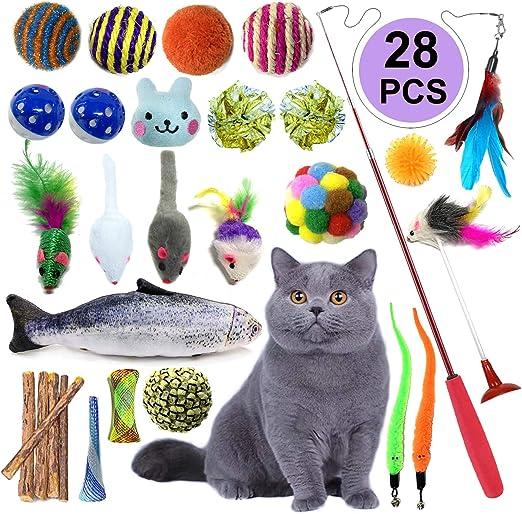 Juguetes Para Gatos 28 Piezas, PietyPet Juguete Interactivo Varita Retráctil con Gatos Ratón, Bolas Campanas, Plumas Cabezas de Repuesto Catnip Ball Juguetes Gatos para Kitty Mascota Gato Juguetes: Amazon.es: Productos para mascotas