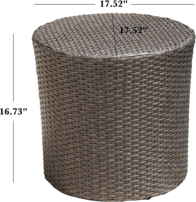 Christopher Knight Home Keaton Wicker Barrel Side Table, Dark Grey : Garden & Outdoor