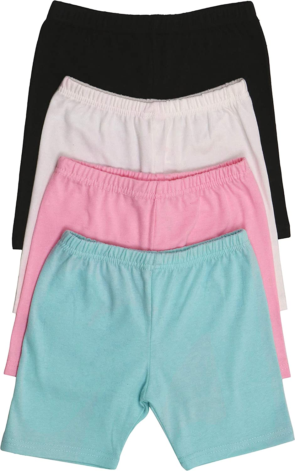 ToBeInStyle Girls 4 Pack Solid Color Soft Cotton Blend Stretchy Shorts