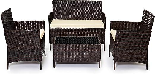Evre Home & - Conjunto de muebles de jardín de ratán para interiores y exteriores, 4 piezas, sofá, mesa, marrón: Amazon.es: Juguetes y juegos