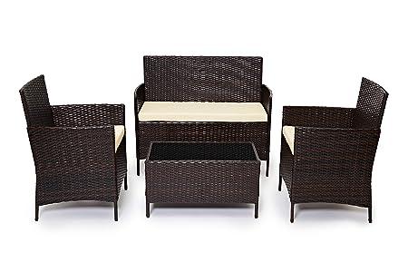 Brown YOUKE Pezzi in Rattan mobili da Giardino Divano Set di tavoli e sedie da Giardino Veranda