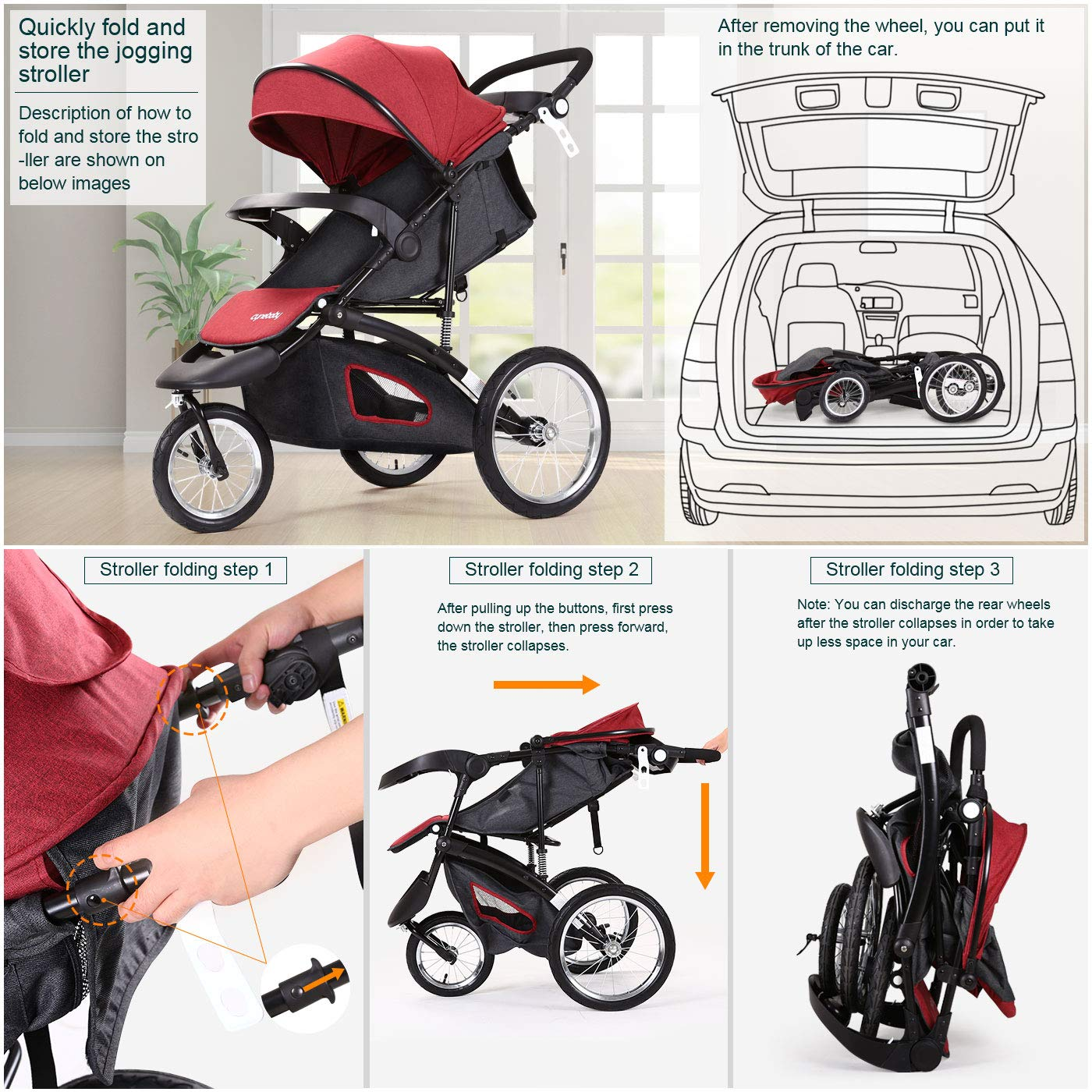 Jogging Stroller Fold City Baby Jogger Travel Citi Jog Strollers Single Toddler Baby Pram Jogging Compact Urban Ultralight Joggers Beby Carriage Pushchair Stroller Travel System by Cynebaby / HAIXIAO (Image #7)