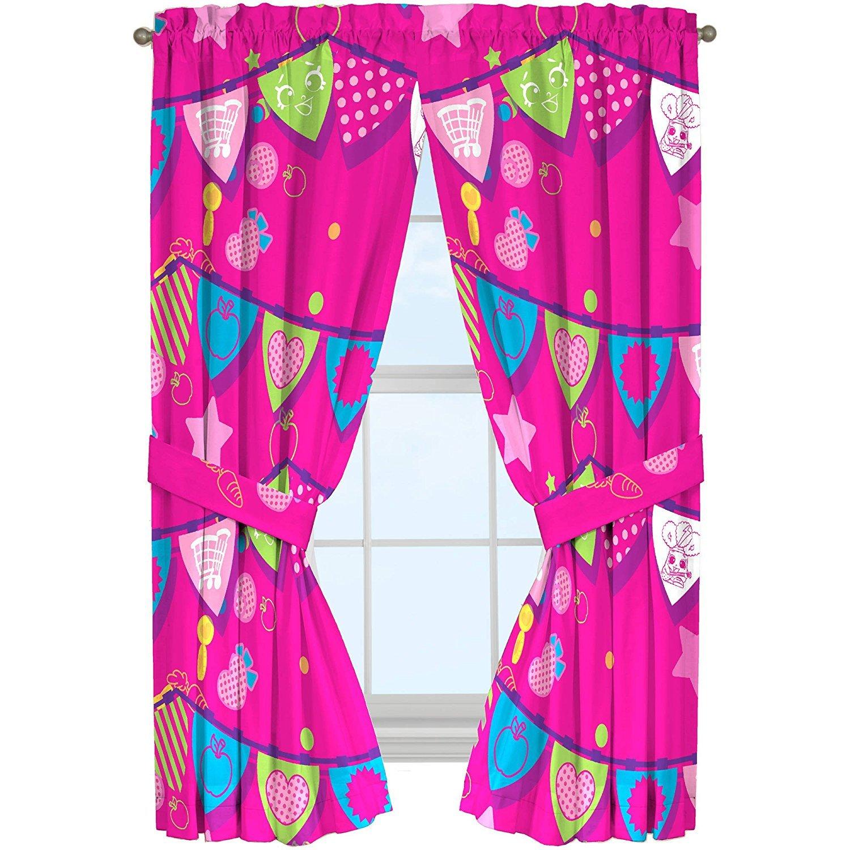 Shopkins Microfiber Window Panels Curtains Drapes Pink Flag Style 42 x 63