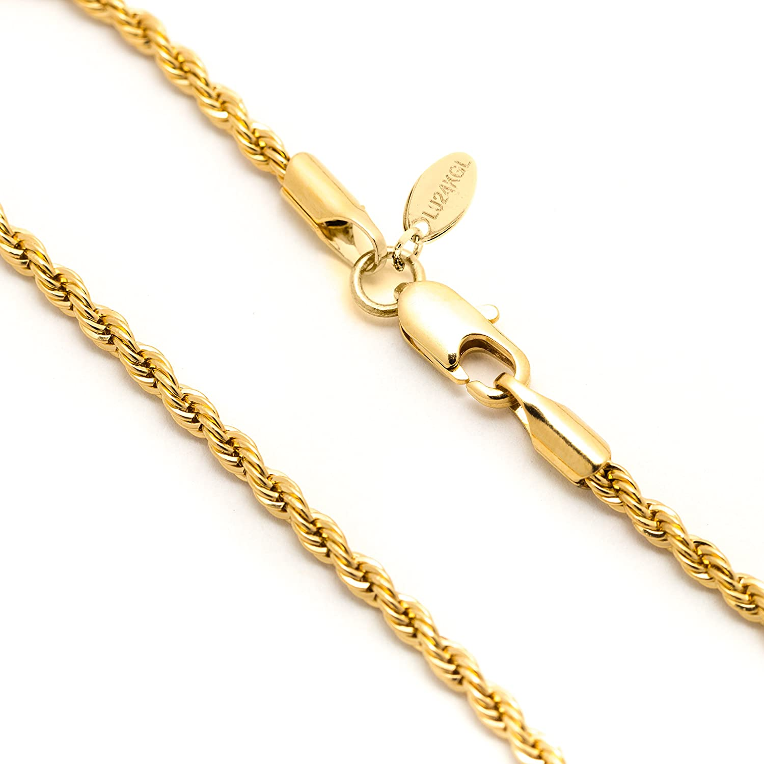 Amazon.com: Lifetime Jewelry 2MM Rope Chain, 24K Gold with Inlaid ...