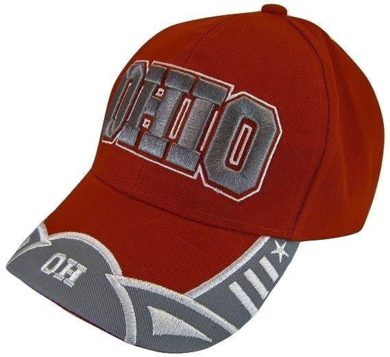 7e31af2f35b Ohio Men s Small Stars 2-Tone Adjustable Baseball Cap (Red Gray) at ...