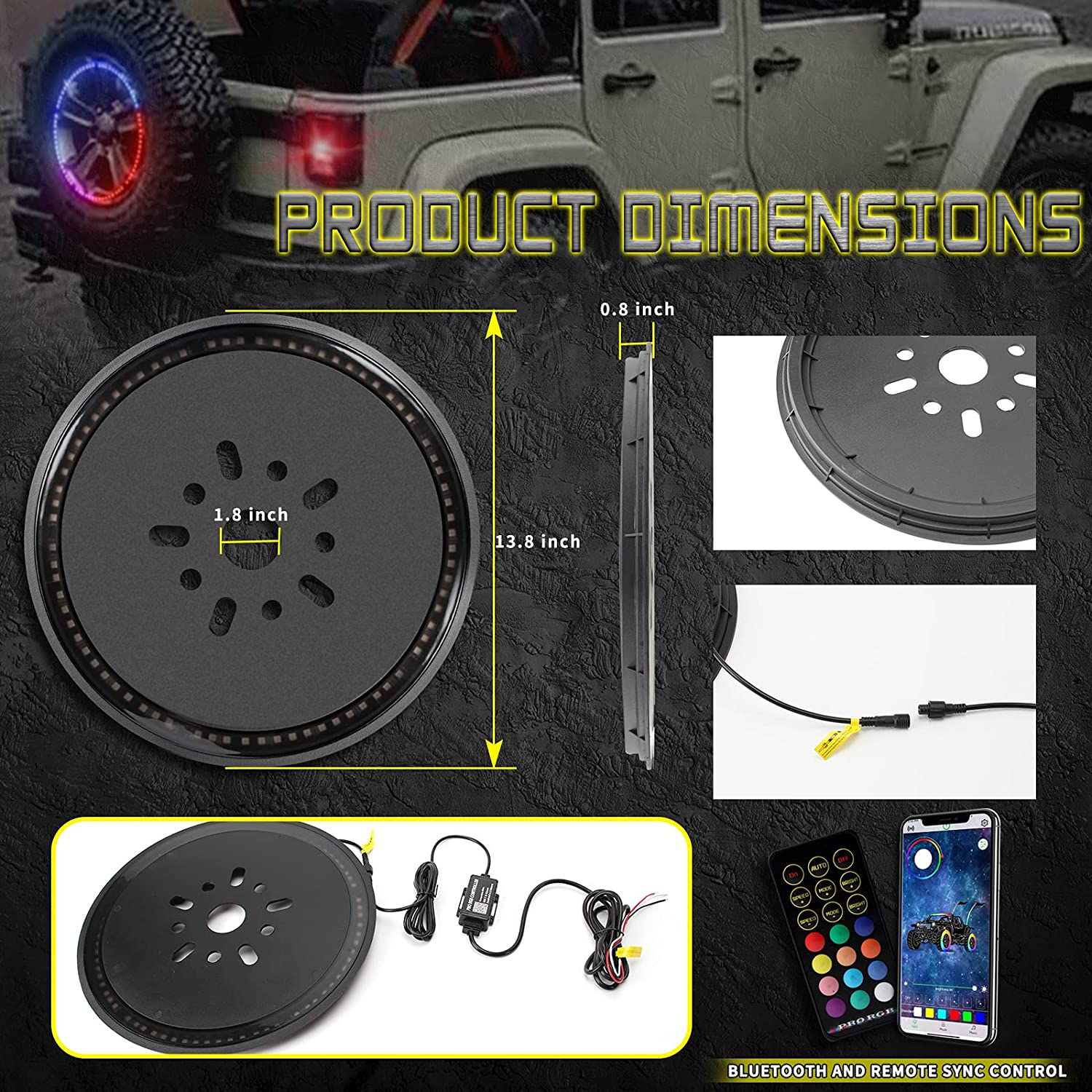 RF Wireless Remote Bluetooth Rear Spare Wheel Lights Compatible ...
