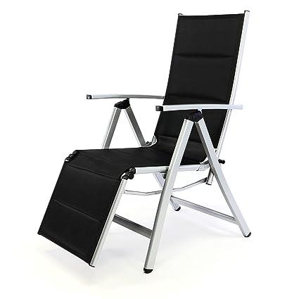 Liegestuhl Alu.Nexos Deluxe Alu Liegestuhl Klappstuhl Mit Fußstütze Sonnenliege Campingliege Gartenliege Verstellbar