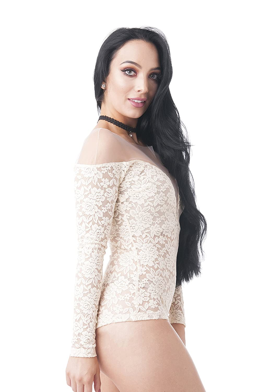 Amazon.com  Khanomak Long Sleeve Deep V Neck Lace Mesh Illusion Bodysuit   Clothing c642c962f
