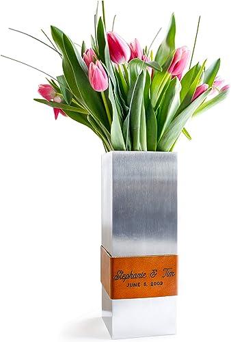 A-VESL Personalized Modern Metal Flower Vase. Custom Engraving