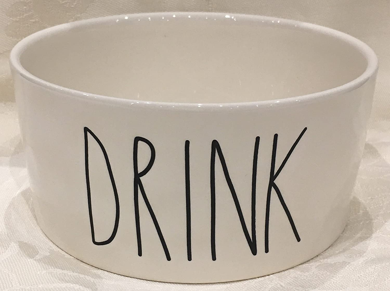 Rae Dunn Magenta Artisan Collection Big Pet Bowl DRINK Turquoise