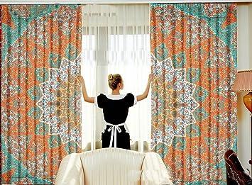 Sophia Art Star Mandala Bedroom Window Curtains Indian Drape Balcony Room Decor Curtain Boho Set Tapestry