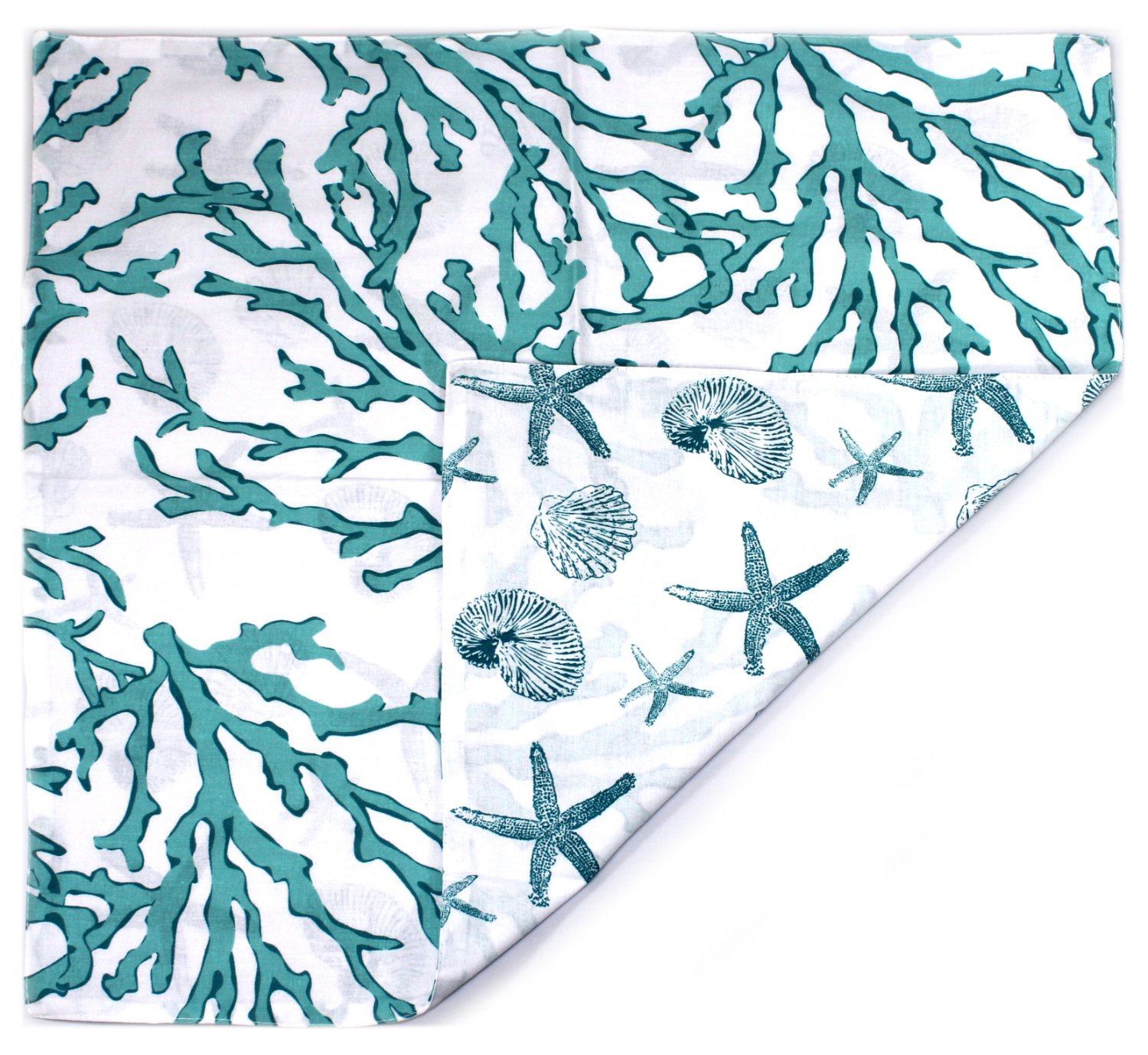 Cora Blue C/&F Home 14x51 Quilted Scallop Edge Reversible Table Runner