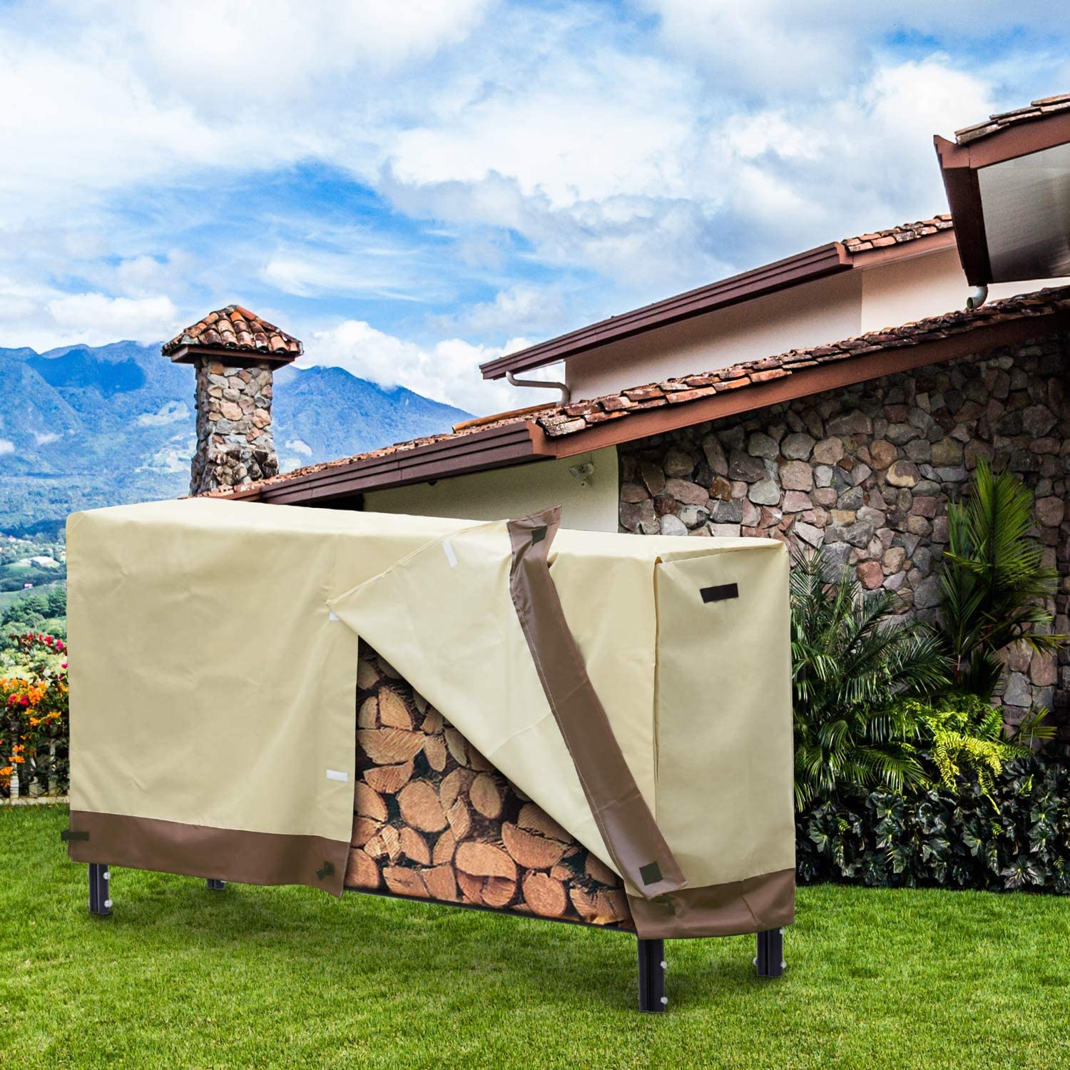 96 L x 24 W x 42 H dnswez Firewood Rack Cover 8 Foot Heavy Duay Waterproof Log Rack Cover with 600D Oxford /& Weather-Resistant,Firewood Storage Holder Cover for Indoor Outdoor