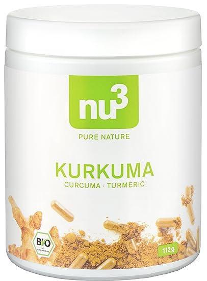 nu3 Cúrcuma Orgánica | 200 cápsulas con kurkuma molida | Tabletas veganas de cúrcuma con pimienta