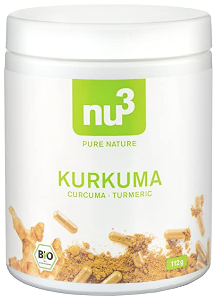 nu3 Cúrcuma Orgánica   200 cápsulas con kurkuma molida   Tabletas veganas de cúrcuma con pimienta