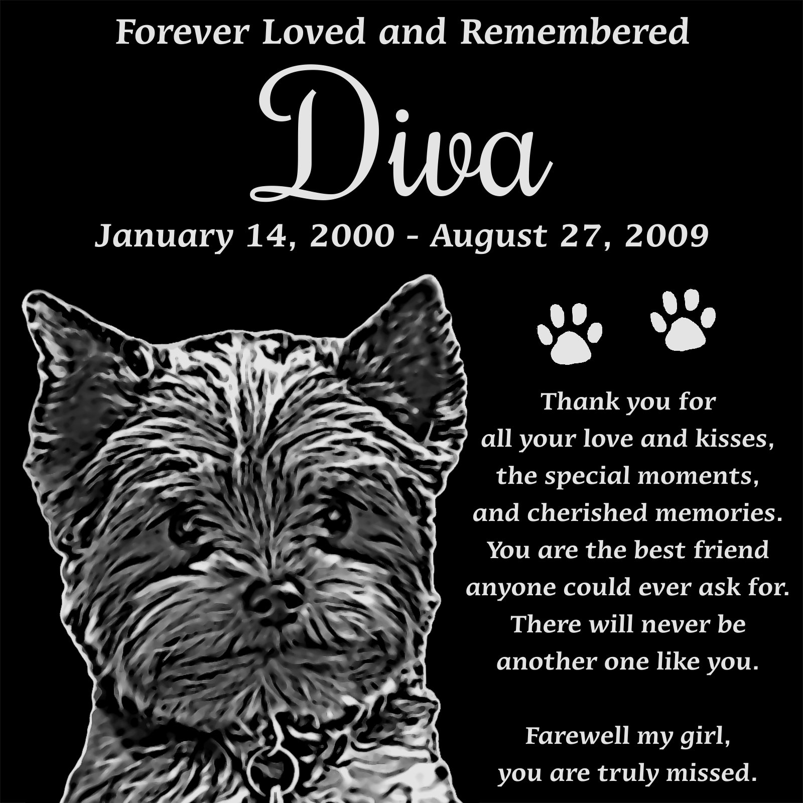 Personalized Yorkshire Terrier Pet Memorial 12''x12'' Engraved Black Granite Grave Marker Head Stone Plaque DIV1