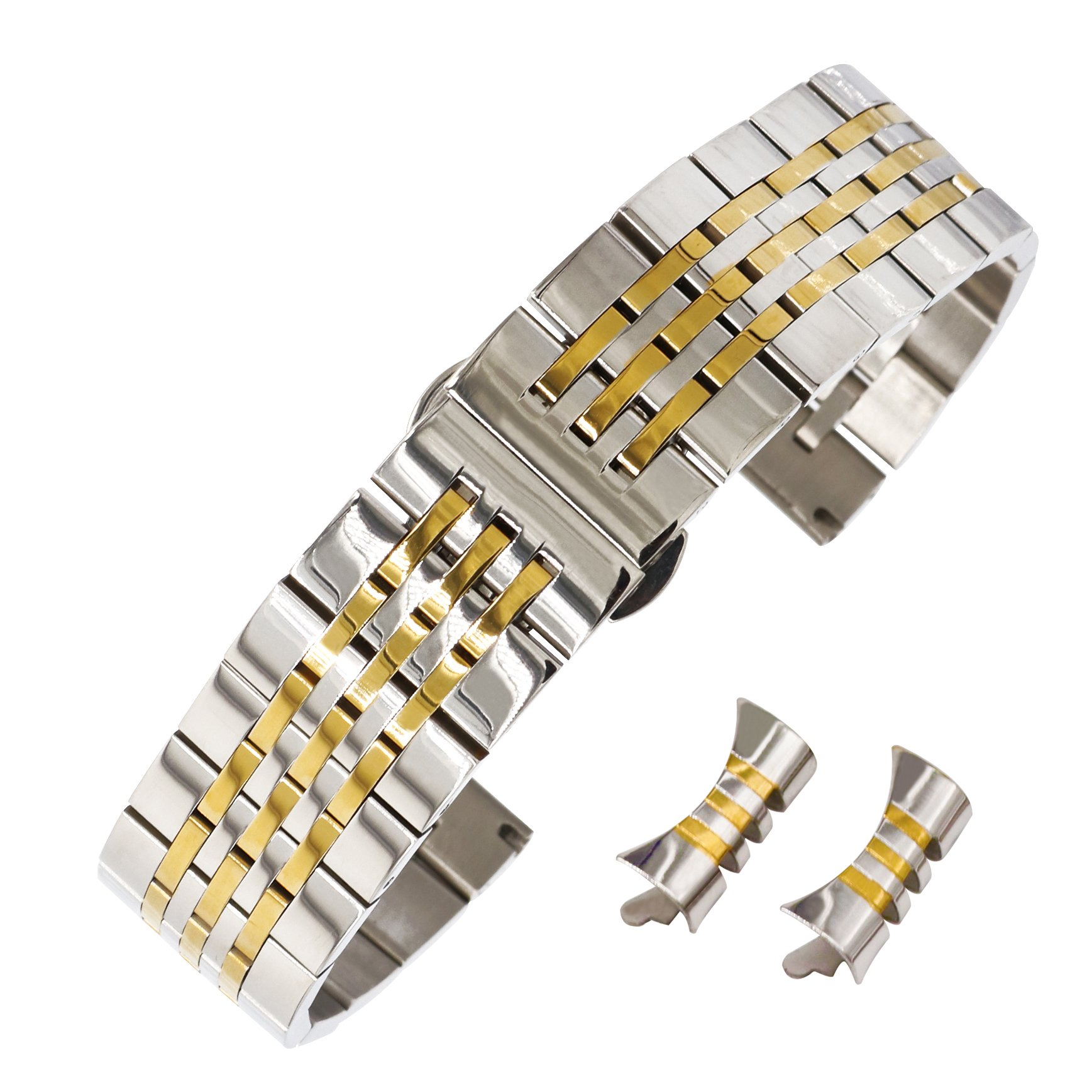 983250d7338 Galleon - 18mm Fine And Smooth Watch Stainless Steel Strap SS Watch Band In  Two Tone Silver And Gold Curved End