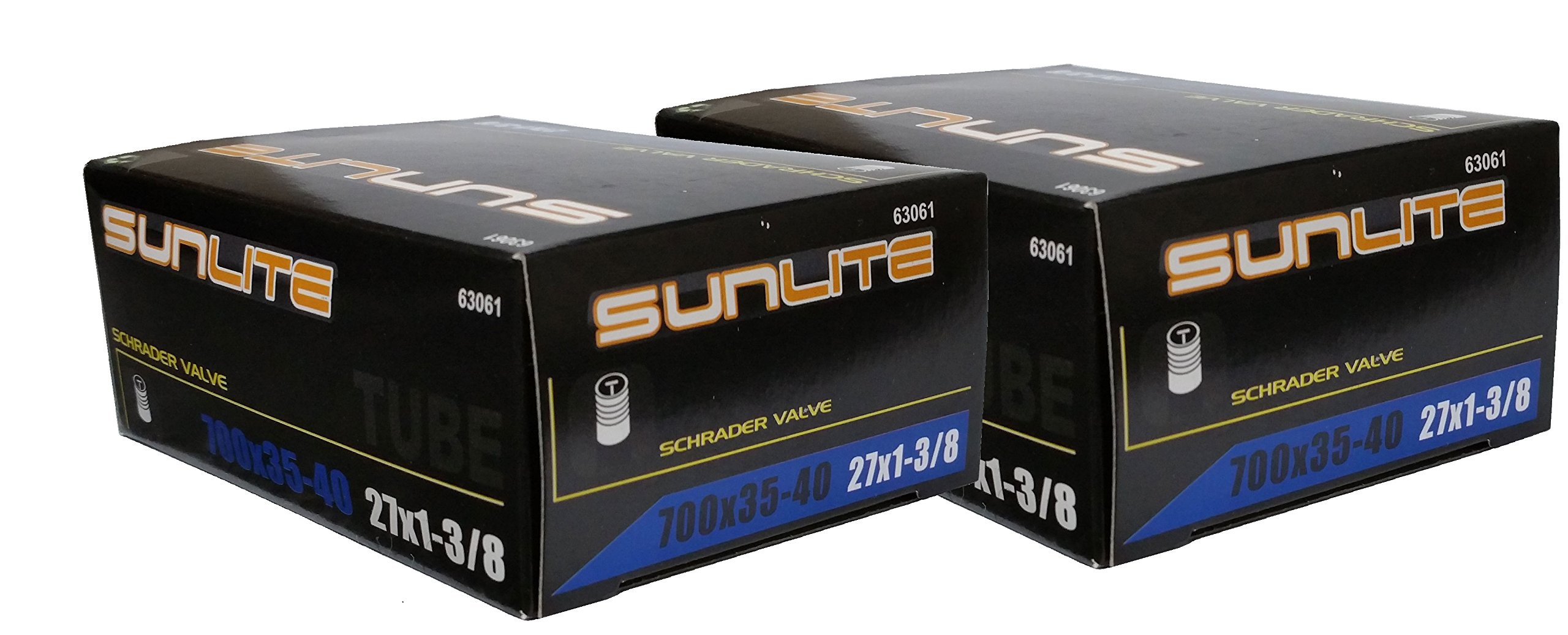 Street Fit 360 2 Pack - Tube, 700 x 35-40 (27 x 1-3/8) Schrader Valve 32mm, Sunlite by Street Fit 360