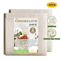 Olicity Cheesecloth, 20x20 Inch, Grade 90, 100% Unbleached Pure Cotton Muslin Cloth...