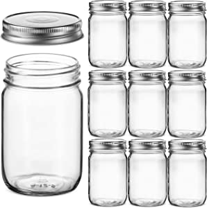 Regular Mouth Glass Mason Jars, 12 Ounce (10 Pack) Canning Jars with Silver Metal Airtight Lids for Meal Prep, Food Storage, Canning, Drinking, Overnight Oats, Jelly, Dry Food, Spices, Salads, Yogurt