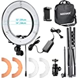 "Neewer RL-12 LED Ring Light 14"" outer/12 on Center with Light Stand, Soft Tube, Filter, Bluetooth Receiver for Makeup, Camera/Phone Video Shooting"
