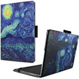 Infiland Lenovo Yoga Book Case, Folio Premium PU Leather Stand Cover for Lenovo Yoga Book 2-in-1 10.1-Inch Tablet (Android and Windows Version) -Starry Night