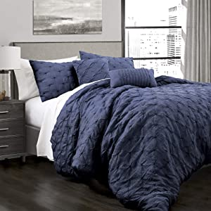 Lush Decor Ravello Shabby Chic Style Pintuck Navy 5 Piece Comforter Set with Pillow Shams, King