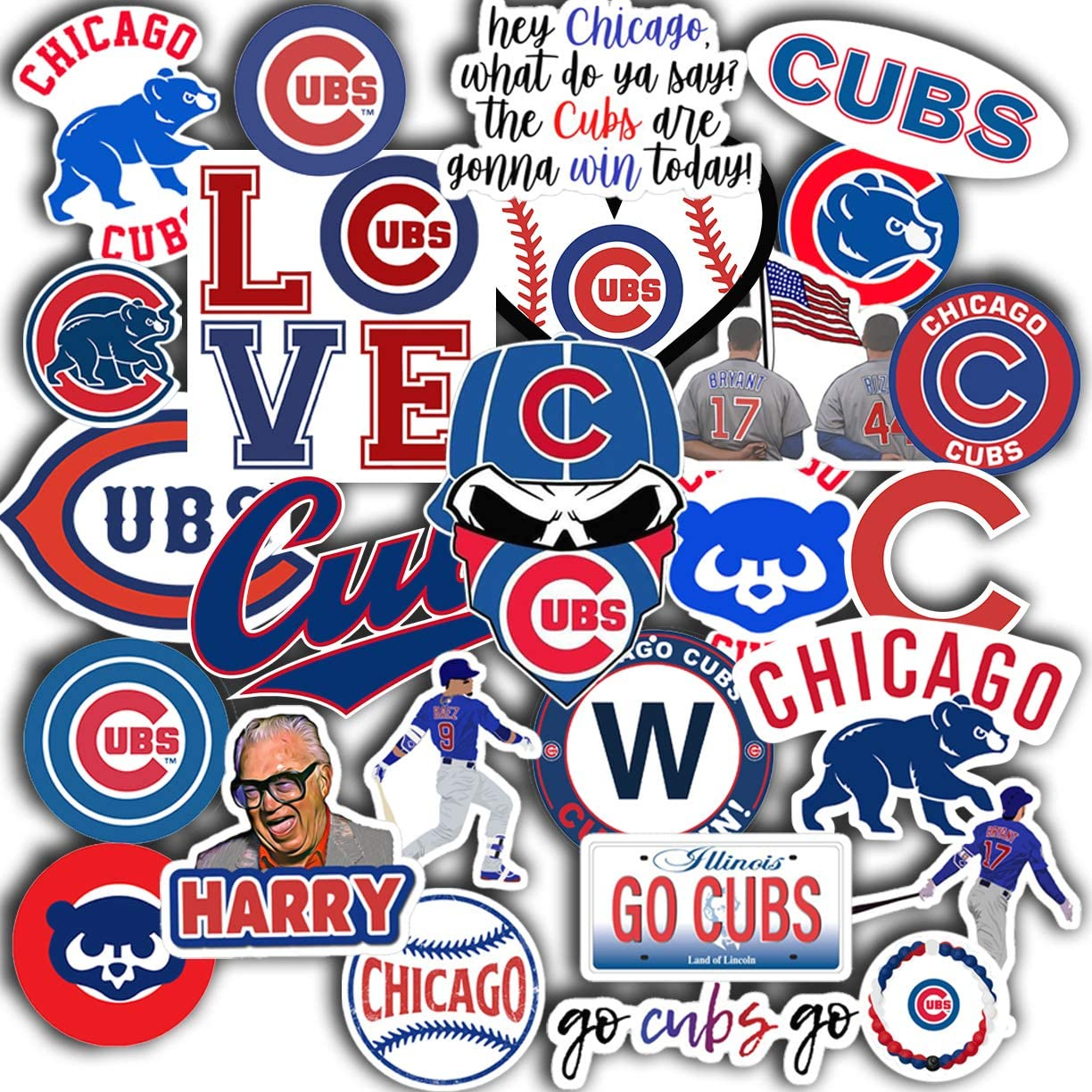 """Stickers Pack Chicago Aesthetic Cubs Vinyl Set of 31 Decal 2"""" Colorful Waterproof for Laptop Sticker"""