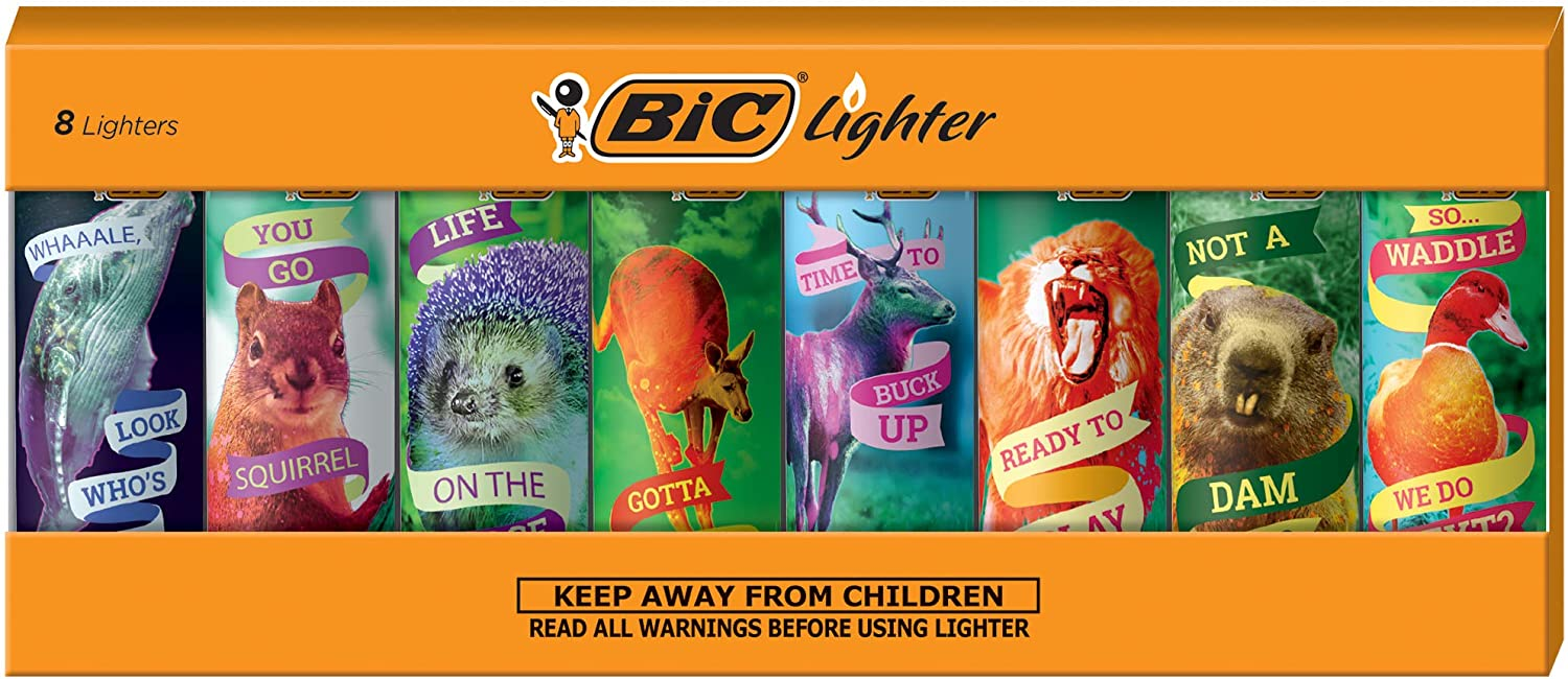 BIC Special Edition Party Animal Series Lighters, Set of 8 Lighters
