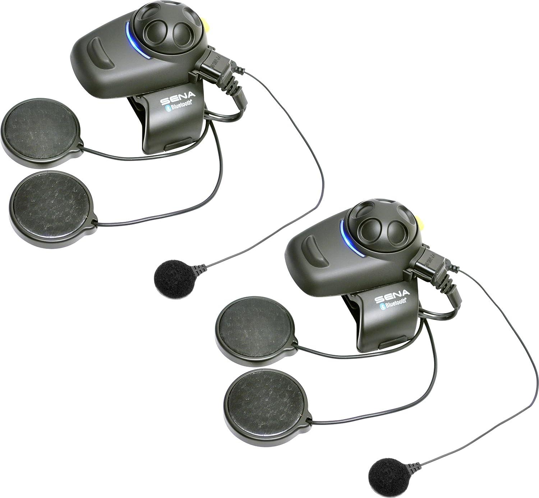 Sena SMH5D-FM-02 Auricular E Intercomunicador Bluetooth, Con Sintonizador De Fm Integrado, Para Scooters Y Motocicletas, Paquete Doble, Con Kit Para Casco ...