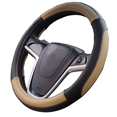 Mayco Bell Car Steering Wheel Cover 15 inch No Smell Comfort Durability Safety (Black Beige): Automotive