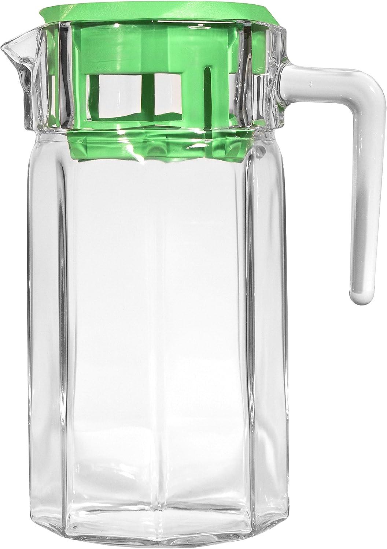 Circleware Drink Pitcher Dispenser Glassware, 50 oz, Green Lodge