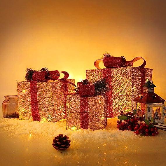 2er B/är, Echtwachs, ohne Fernbedienung CCLIFE 3er Set LED Geschenkbox Weihnachten Weihnachtenbox Beleuchtete Lichterkette batteriebetrieb Weihnachtsdeko