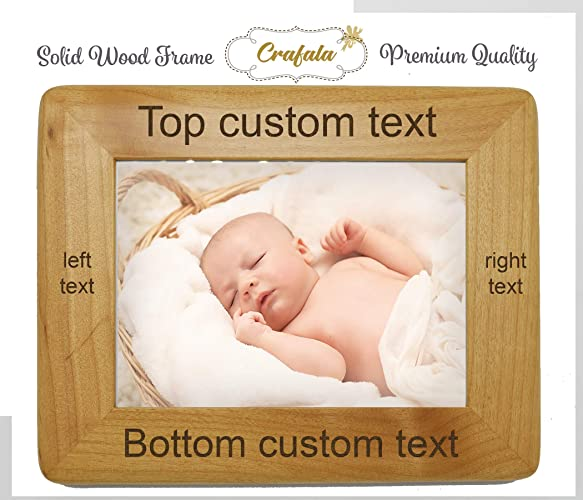 Amazoncom Round Red Alder Personalized Frame Custom Engraved Wood