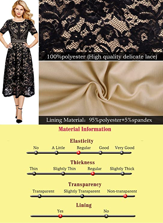873ea0fb1b06 VFSHOW Womens Floral Lace Patchwork Cocktail Wedding Party A-Line Midi Dress  at Amazon Women's Clothing store: