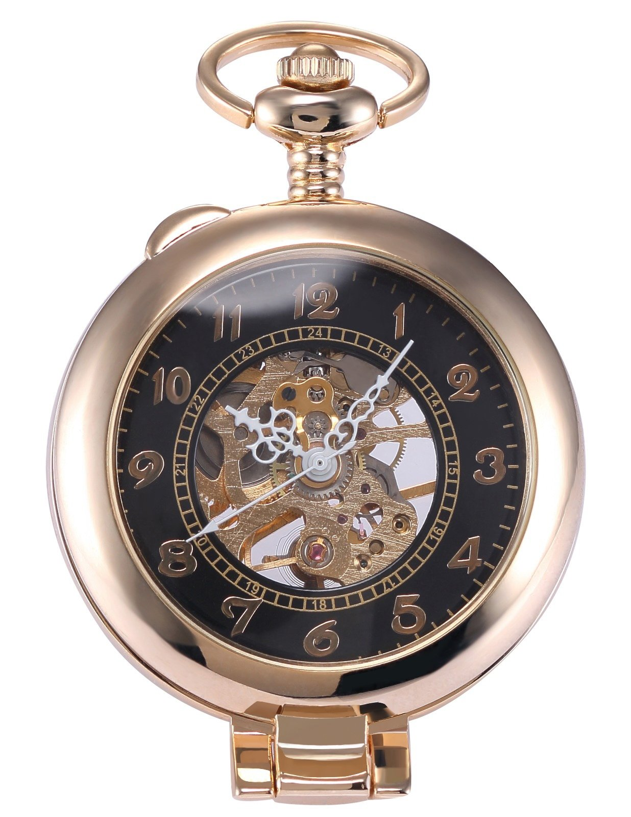 AMPM24 Unique Golden Magnifier Skeleton Mechanical Men's Pocket Watch Chain Gift WPK022 by AMPM24 (Image #1)