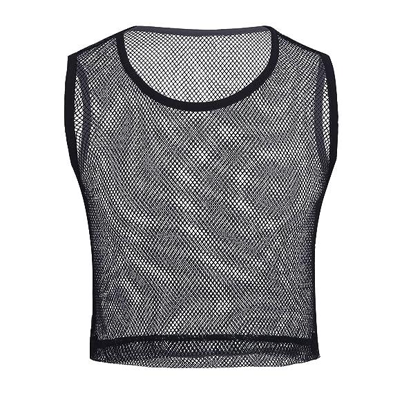 f03ba174e iixpin Homme Shirt Transparent Sexy Maille sans Manches Débardeur Top Filet  Muscle Vêtement Dessous Costume Performance Fitness Musculation Ventre ...