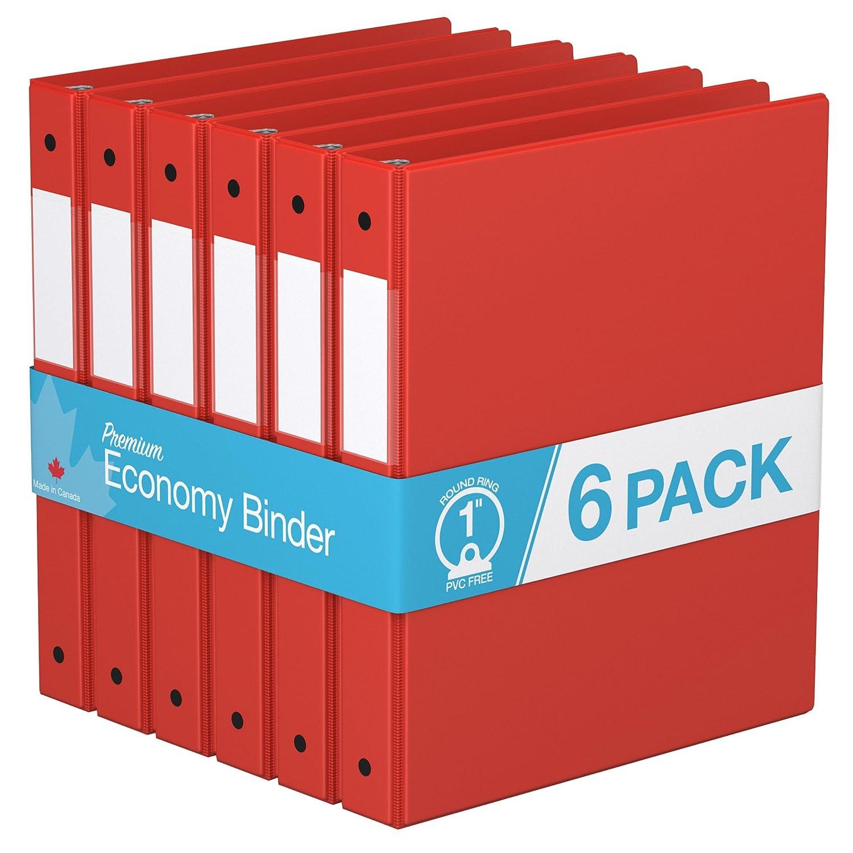 Premium Economy, Round Ring, Binder, 6 Pack (Black, 1.5) 1.5)